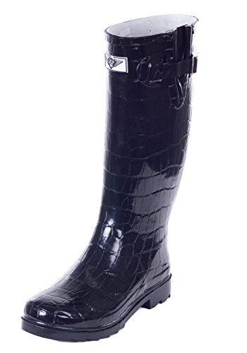Collection Boots amp; a Knee Bellow is Great Rainy Croco Garden Garden Rubber Rain Work For Black Rain or Women Day n78IWYSqq