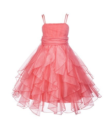 Elegant Stunning Organza Pleated Ruffled Flower girl dress princess wedding 151s (16, coral) -