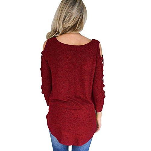 78086a5689f9f Top Mode Confort T Causal Fille shirt Vacances Trou Blouse Printemps Longue  Rouge Epaule Eté Loose Croisé Nu Jolisson Femme Pullover Manche qI61w6x