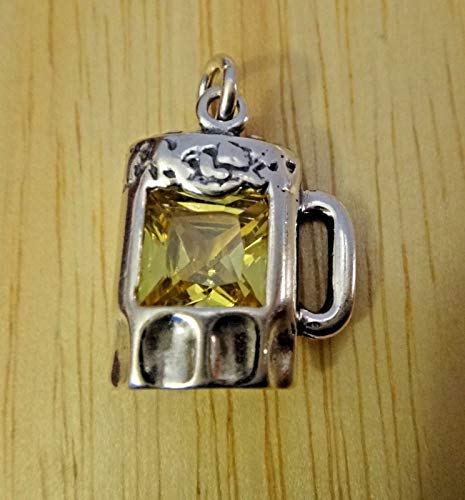 (Fine Charms Sterling Silver 20x15mm Yellow CZ in Beer Mug)