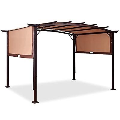 Tangkula Pergola 12' x 9' Gazebo Canopy Outdoor Patio Garden Steel Frame Sun Shelter with Retractable Waterproof Canopy Shades