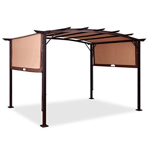 Garden and Outdoor Tangkula 12′ x 9′ Pergola Gazebo Canopy Outdoor Patio Garden Steel Frame Sun Shelter with Retractable Canopy Shades pergolas