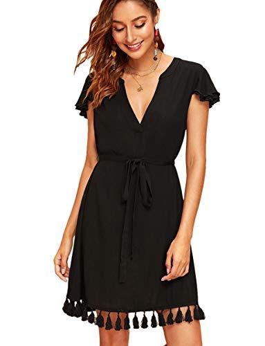 - Romwe Women's Deep V Neck Tassel Hem Belted Casual Dress L Black