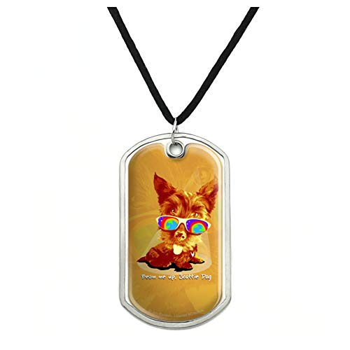 Cord Scottie - GRAPHICS & MORE Beam Me Up Scottie Dog Suglasses Vintage Retro Military Dog Tag Pendant Necklace with Cord