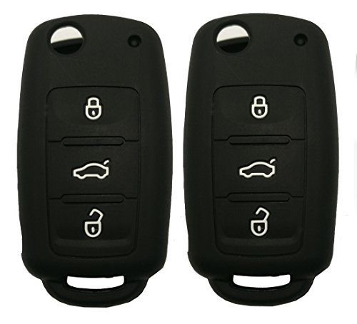 (Keyless Entry Remote Key Fob Skin Cover Protective Silicone Rubber key Jacket Protector for VW Volkswagen Golf Passat Beetle Jetta 3 Buttons Key Holder (2 Black))