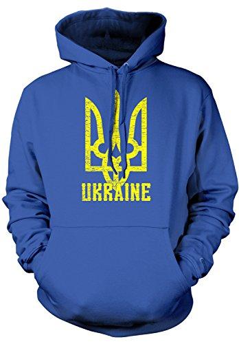 - Amdesco Men's Ukrainian Coat of Arms, Ukraine Tryzub Hooded Sweatshirt, Royal Blue XL