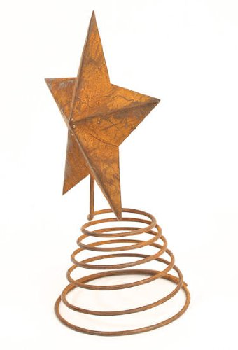 Rusty Tin Star Tree Topper with Coil Spring Base for Topping Trees, Home Decor and Decorating