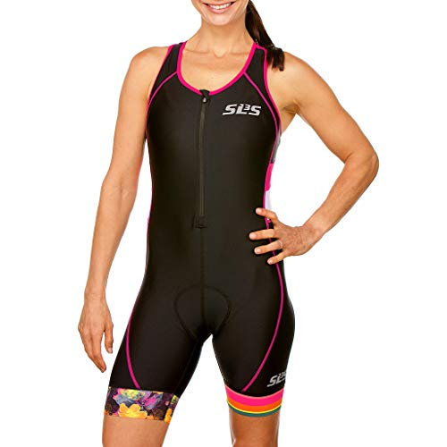SLS3 Women`s Triathlon Suit FX | Womens Trisuits | 1 Pocket Triathlon Gear Suits Women | Anti-Friction Seams Womens Tri Suit | German Designed (Black/Bright Rose, L)