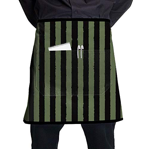 GHDSKH Distress Stripe Black Drab Green Fabric (5020) Waist Aprons Commercial Restaurant Home Bib Spun Poly Polyester Kitchen for Unisex