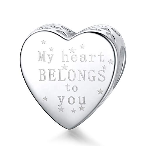 """""""My Heart Belongs to You"""" Bead Charms Sterling Silver Letter Printed Heart Charms for Women Bracelet Necklaces"""