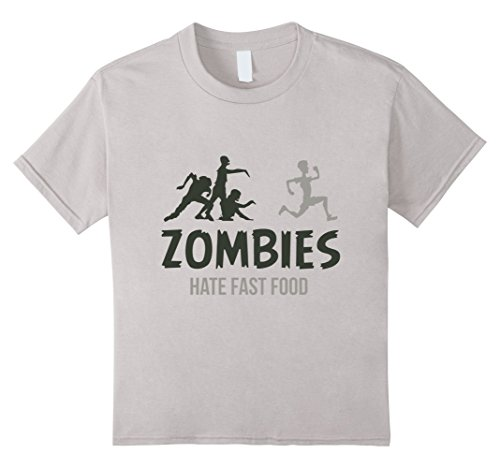 Kids Zombies Hate Fast Food T-Shirt 4 Silver ()