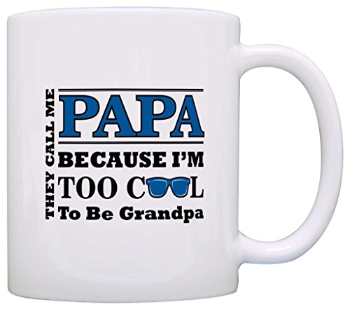 Father's Day Gift for Papa Too Cool to Be a Grandpa Sunglasses Gift Coffee Mug Tea Cup White by ThisWear