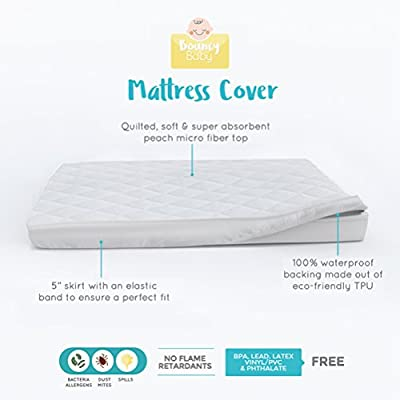 Bouncy Baby Pack n Play Mini Crib Mattress Cover | Hypoallergenic, Cushioned & Soft, Waterproof Pack n Play Mattress Pad Cover | Mini Crib mattress protector, Perfect for Graco Playard | No Shrinkage