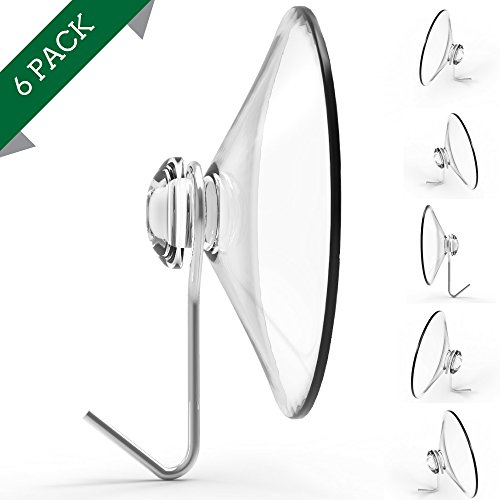 Suction Cup Hooks, Set of 6, 2' Clear Heavy Duty Cups W/ Stainless Hook, Best for Shower, Bathroom, Kitchen, & Windows - Super Strong Pads Makes Them Perfect For Outdoor Use On Wreaths & Bird Feeders