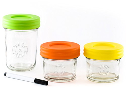 Glass Baby Food Storage Containers - Set contains Small Reusable 4oz and 8oz Jars with Airtight Lids - Safely Freeze your Homemade Baby Food