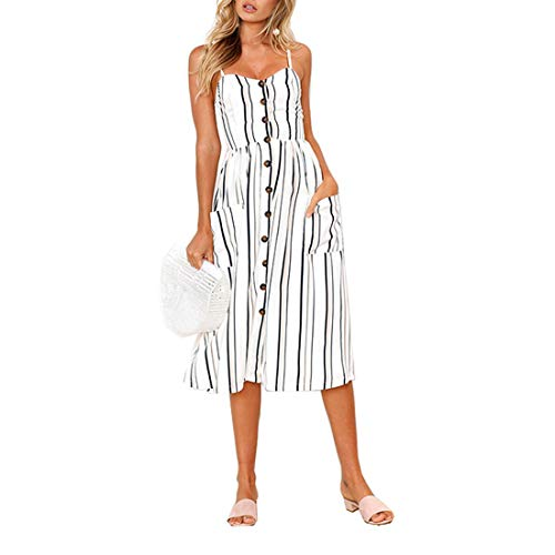 PIZOFF Women's Dresses-Summer Floral White Striped Bohemian Spaghetti Strap Button Down Swing Midi Dress with Pockets AM071-17-M