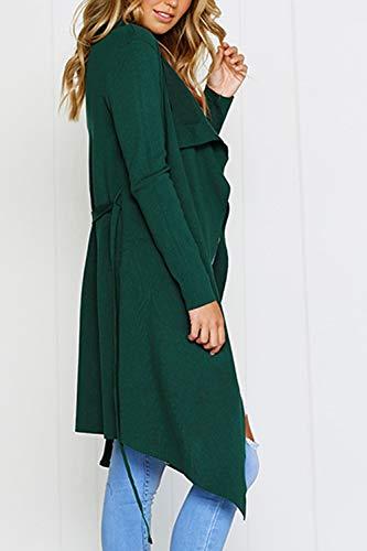 Cinturón Verde Tops Chaqueta Mujer De Abrigo Abrigos Con Frontal Cardigans Abierto Yacun WRqvPSBwFn