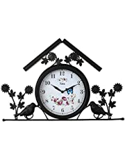Lily's Home Rustic Outdoor Hanging Garden Wall Clock, Black Wrought Iron