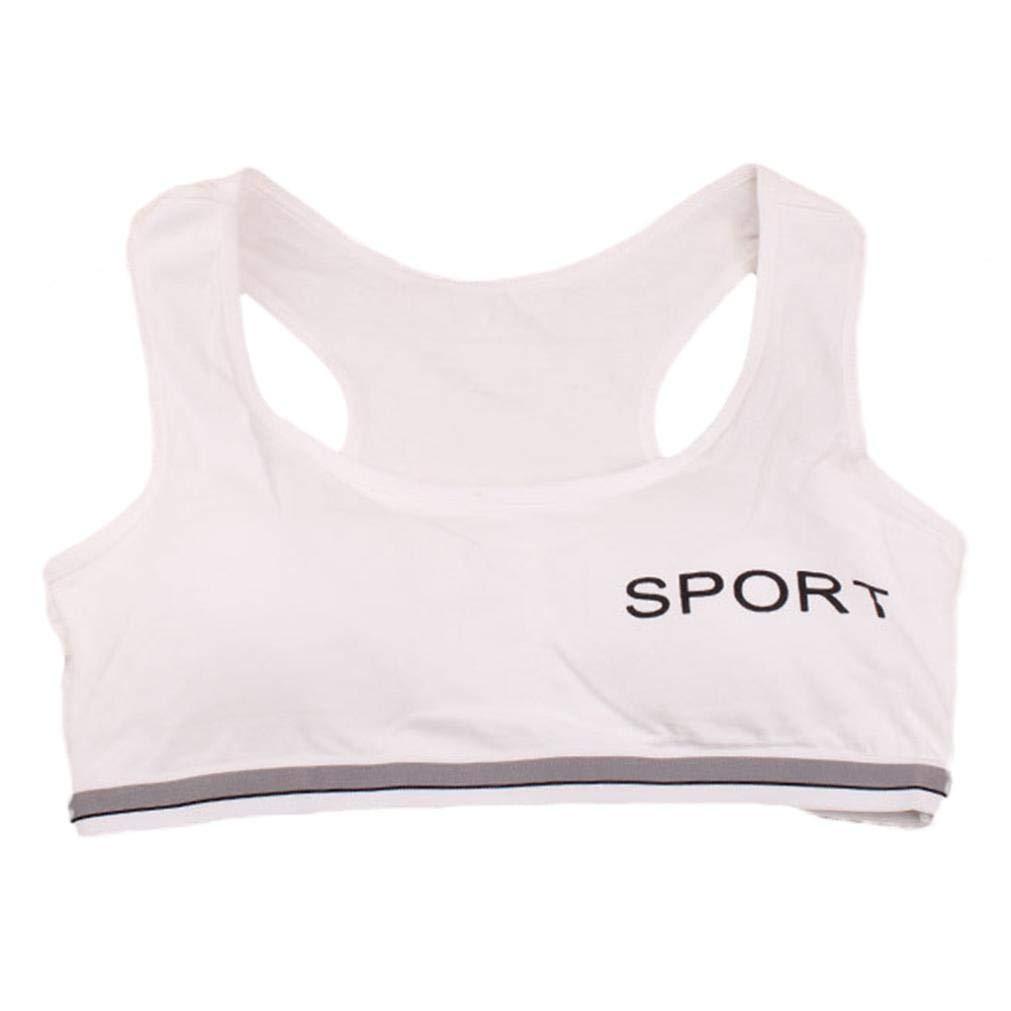 Moonker Big Girls' Crop Bra 10-15 Years Old,Teen Girls Kids Cotton Breathable Sports Training Bra Underwear Underclothes (10-15 Years Old, White)