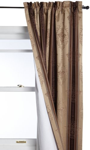 Tuscan Stripe Scroll Stripe Jacquard Blackout Rod Pocket Single Panel, 52-Inch by 95-Inch, Mocha ()