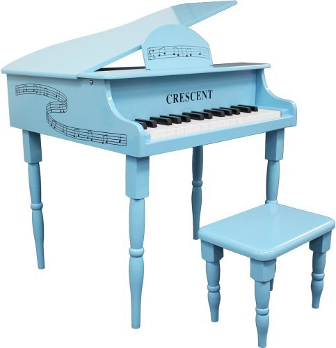 Crescent 30 Keys Teal Toy Grand Piano with Bench