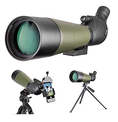 Gosky 20-60x80 Spotting Scope with Tripod, Carrying Bag and Scope Phone Adapter - BAK4 Angled Scope for Target Shooting Hunting Bird Watching Wildlife Scenery