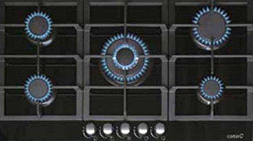Kochfeld Cata 87,5cm/Gas-Kochfeld Autark mit 5 Hochwertigen Brenner/WOK Brenner 3,5kW/Gaskochfeld mit Erdgas und Propangas/Kochmulde mit massiven gusseisernen Topfträgern/Thermoelektrische Zündsicherung/Gasfeld/UVP549€/Cata-Spanischer Markenhersteller seit 1947