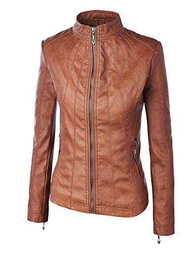 Lock and Love WJC877 Womens Panelled Faux Leather Moto Jacket XL Camel