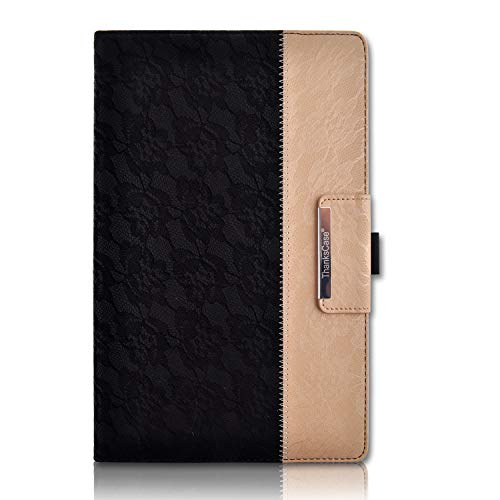 Thankscase Case for Galaxy Tab A 10.1, Rotating Case Cover Build-in Wallet Pocket, Hand Strap, Beautiful Embossed Pattern, Smart Cover for Galaxy Tab A 10.1 2016 SM-T580/T585/T587 (Lace Black Gold)