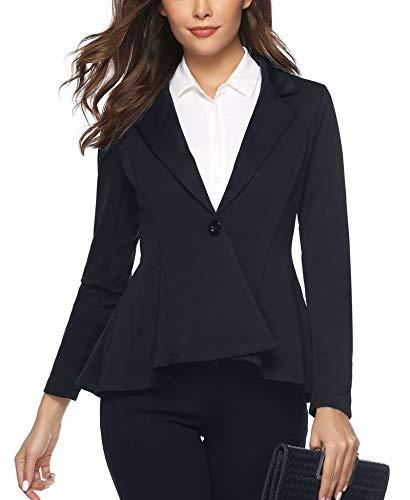 Aibrou Notch Lapel Sharp Casual Work Office for Women Asymmetry Office Blazer Navy Blue ()