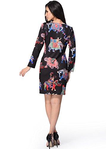 Womens Bodycon Kleid-langes Hülsen-gedrucktes Partei-Abend-Minikleid
