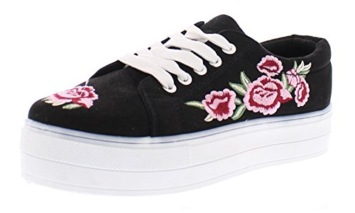 Gold Toe Women's Jai Faux Suede Embroidered Floral Platform Fashion Sneakers, Sporty Slip-On Walking Shoe Black 10 US 90s Black Platform