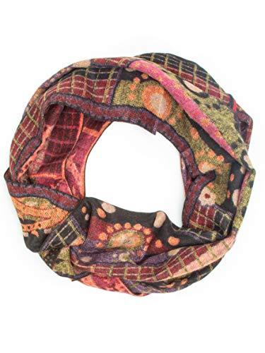 Bohomonde 100% Cashmere Pashmina or Infinity Scarf, Genuine Cashmere, Soft Warm Indian Paisley, Fun Boho Patterns (Infinity Scarf, Pink/Burgundy Paisley Stripe) ()