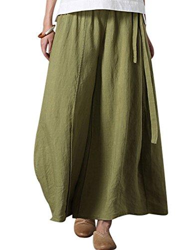 Elástica Cintura Verde Pantalones Mujeres Youlee Verano Falda q4fPWF