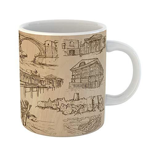 Emvency Coffee Tea Mug Gift 11 Ounces Funny Ceramic Places Architecture No 33 Collection of Each Drawing Comprise Three Layers Gifts For Family Friends Coworkers Boss Mug