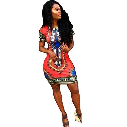 Women Dashiki Short Sleeve Dress Red - 1