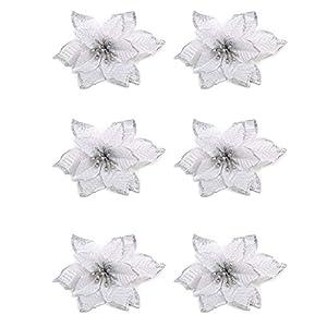 Fitlyiee 6 PCS Reusable Christmas Poinsettia Flower Ornaments Exquisite Artificial Poinsettia Flower for Festival Decoration (White) 71
