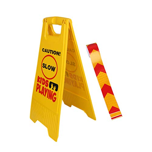 Kid Playing Caution Sign - Children Safety Slow Road Yard Sign - Double Sided Sign Bundled with Reflective Tape