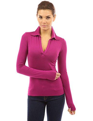 PattyBoutik Women V Neck Long Sleeve Polo Shirt (Rose Large)