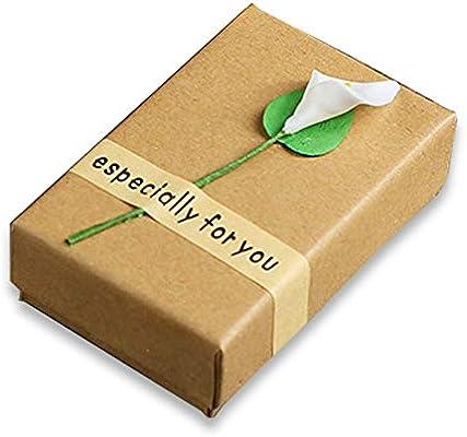 TONVER Caja de Regalo para Pendientes, Papel Kraft, Caja de joyería Calla Lily Flor, Caja de Almacenamiento Decorativo para Anillos, Collares, Pendientes, 8,7 x 5,5 x 2,8 cm: Amazon.es: Hogar