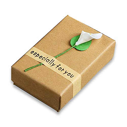 Earring Gift Box, Morenitor Kraft Paper Jewelry Box Calla Lily Flower Decorative Storage Case for Rings, Necklaces, Earrings, 8.7x5.5x2.8cm