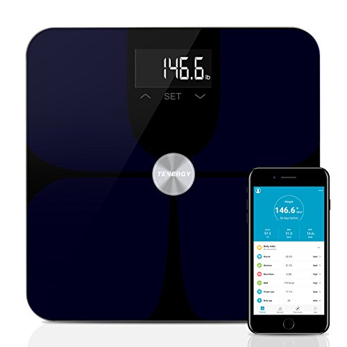 Tenergy Vitalis ITO Digital Weight Scale, High Precision Smart APP Scale, Wireless Bluetooth Body Scale with Large LCD Display, Max Weight 400 lbs, APP Support iOS & Android Device