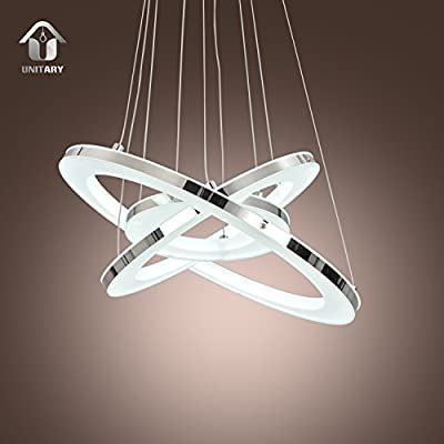 UNITARY BRAND Modern LED Acrylic Pendant Light With 3 Rings Max 33W Chrome Finish