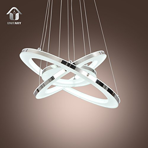 Unitary brand modern led acrylic pendant light with 3 rings max 33w unitary brand modern led acrylic pendant light with 3 rings max 33w chrome finish aloadofball Image collections