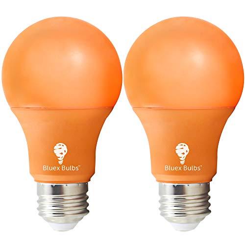 2 Pack BlueX LED A19 Orange Light Bulb - 9W (75Watt Equivalent) - Dimmable - E26 Base Orange LED Color Bulb, Party Decoration, Porch, Home Lighting, Holiday Lighting, Decorative Illumination (Orange)