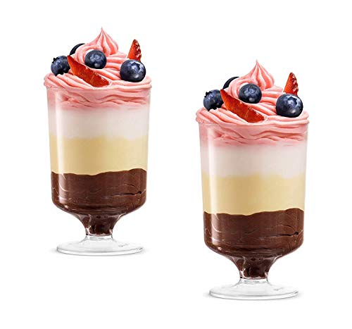 Dessert Cups – Dessert Stem Shape Clear Plastic Parfait Cups | 5 oz - 48 Pack | Mini Cups - Chocolate Cups for Desserts | Appetizer Cups | Shooter Glasses | Mini Plastic Cups [Mini Wonders]