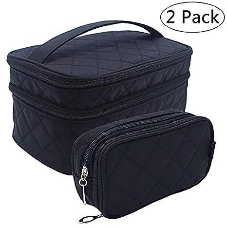 2strati make up pennelli da trucco bag nero organizer con maniglia per il trasporto per viaggi e casa Travelmall