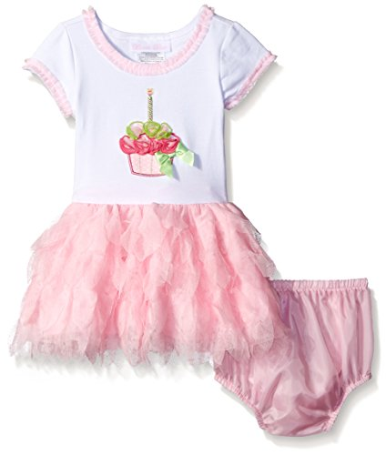 Bonnie Baby Baby-Girls Birthday Cupcake Appliqued Dress, Pink, 18 Months -