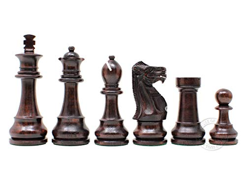 House of Chess - Tournament Chess Set Pieces - Unique Staunton Ringy  Rosewood / Boxwood Chess Pieces - King Height: 3 75