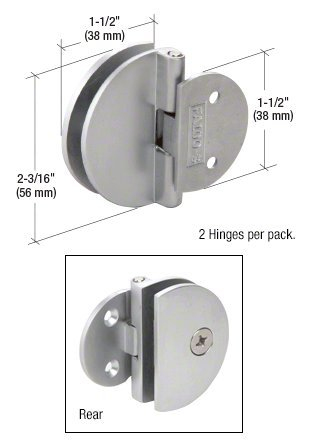 CRL Satin Chrome Half Round Light Duty Frameless Shower Door and Cabinet Hinge - Package